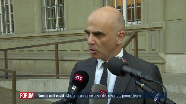 Une efficacité à 94,5% pour le vaccin contre le Covid de Moderna: réaction d'Alain Berset [RTS]