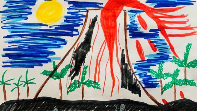 """""""Les volcans"""", un dessin réalisé par Emil. [Emil]"""