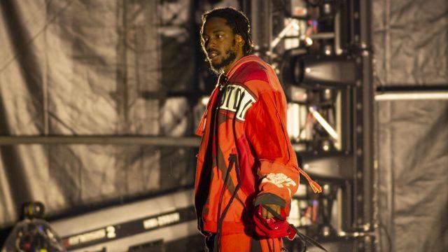 Le rappeur américain Kendrick Lamar sur scène à Bogota, en Colombie, le 6 avril 2019. [Daniel Garzon Herazo / NurPhoto - AFP]