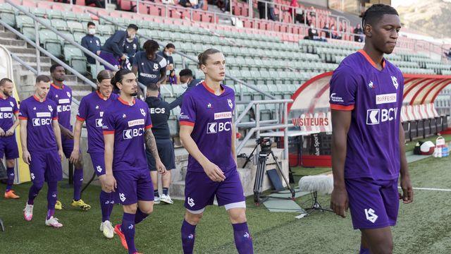Les joueurs du FC Lausanne-Sport le 18.10.2020 à Tourbillon. [Cyril Zingaro - Keystone]