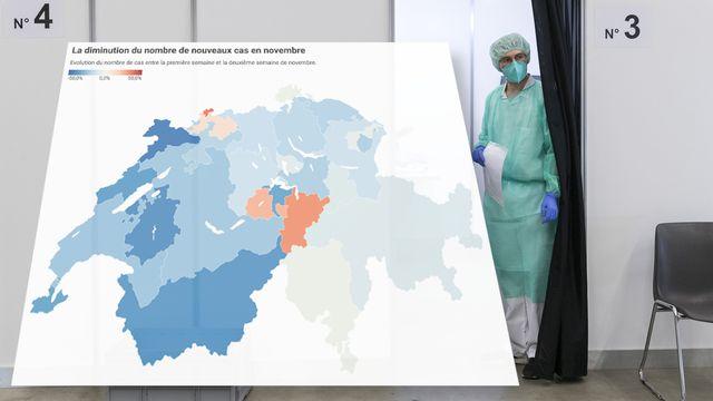 Le nombre de cas diminue dans la plupart des cantons. [Keystone]