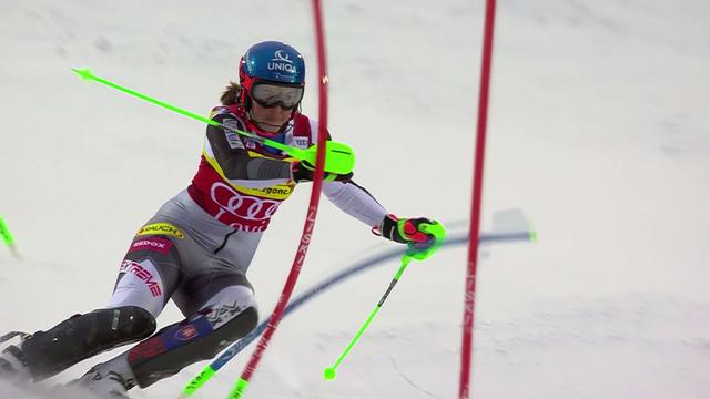 Levi (FIN), slalom dames, 1re manche: Vlhova (SVK) en tête devant Shiffrin (USA), Holdener et Gisin jouent le podium