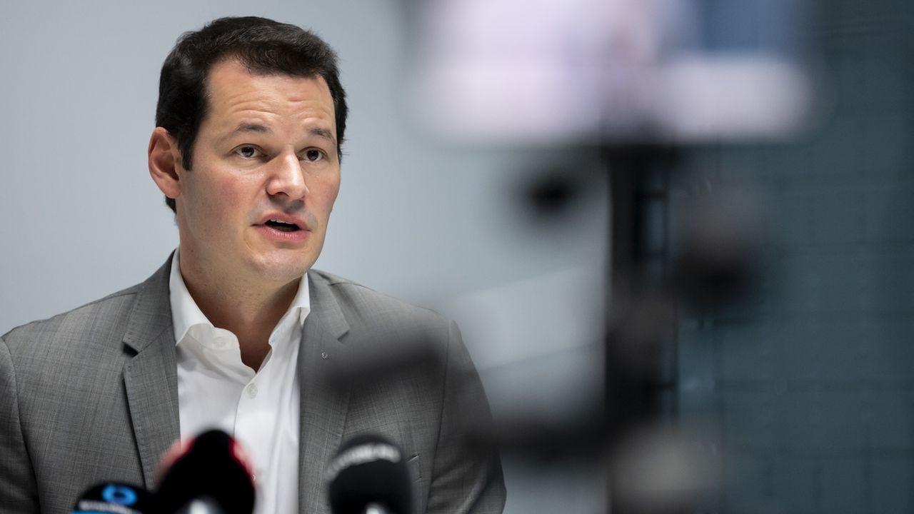 Pierre Maudet lors de l'annonce de sa démission le 29 octobre 2020. [Jean-Christophe Bott - Keystone]