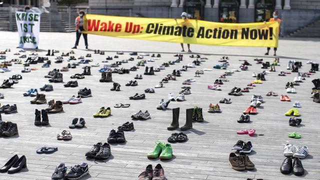 Une manifestation pour le climat, le 24 avril 2020 à Zurich. [Alexandra Wey - Keystone]