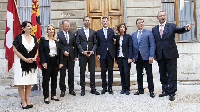 Le Conseil d'Etat genevois après son élection pour la législature actuelle, le 1er juin 2018. [Salvatore Di Nolfi - Keystone]