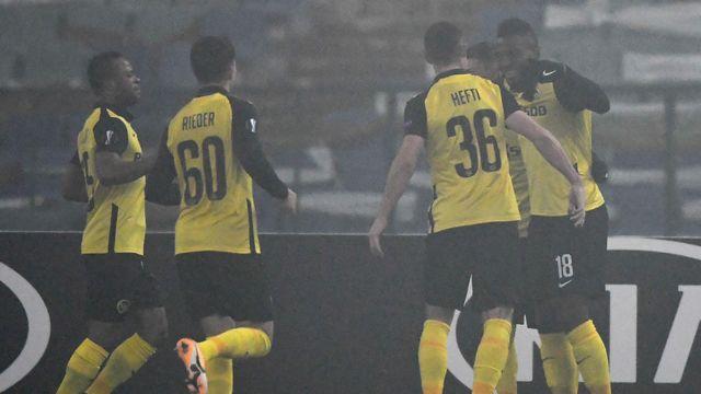 Les Bernois célèbrent l'ouverture du score de Nsame [Nikolay DOYCHINOV - AFP]