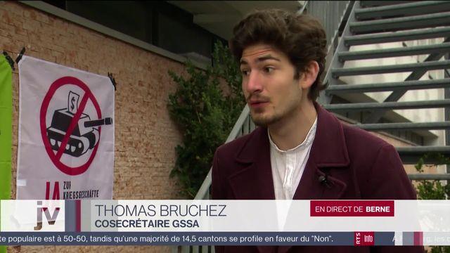 Initiative matériel de guerre : réaction de Thomas Bruchez, co-secrétaire du GSSA [RTS]