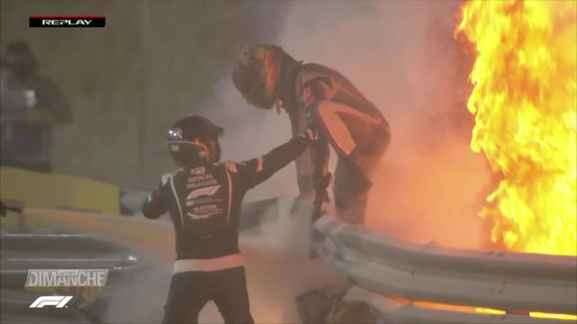 Formule 1: GP de Bahrein, course retardée par les flammes. [RTS]