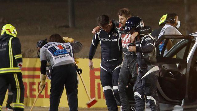 Romain Grosjean est sorti quasiment indemne de son accident spectaculaire. [HAMAD I MOHAMMED / POOL - AFP]