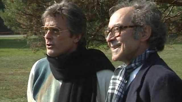 Alain Delon et Jean Luc Godard en 1989 [RTS]