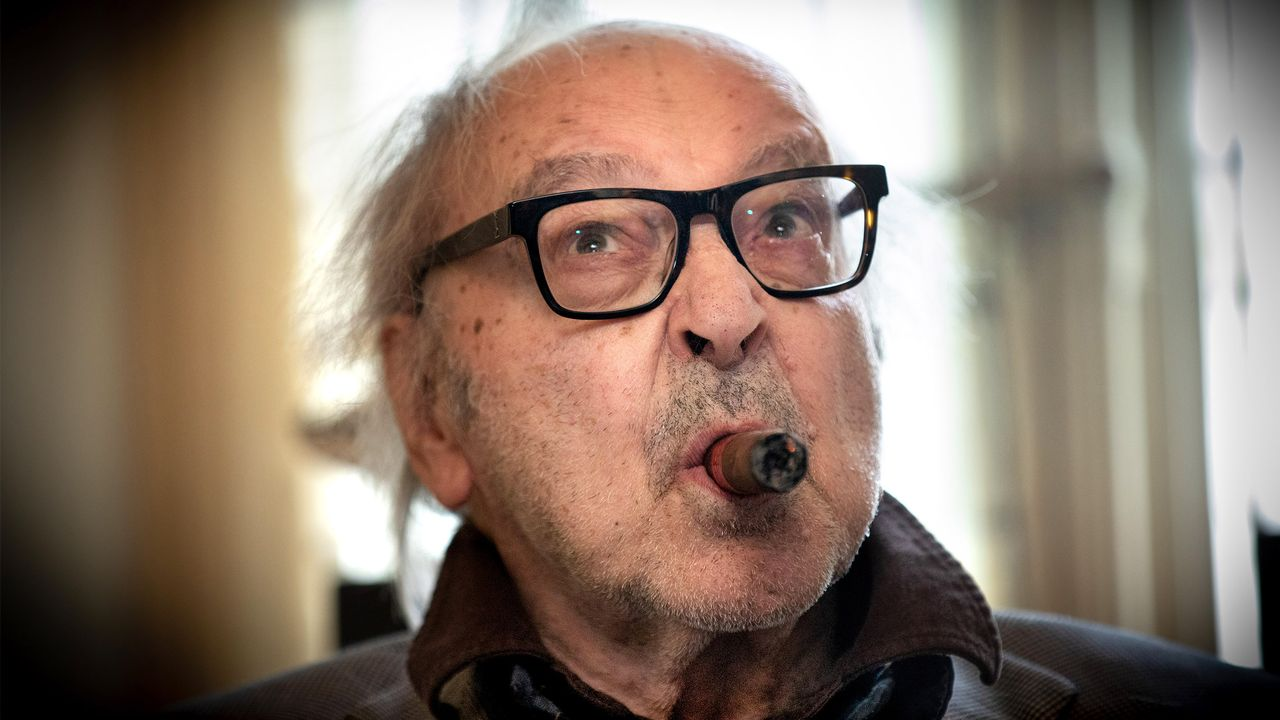 Jean-Luc Godard chez lui à Rolle (VD) le 5 avril 2019. [Philippe Christin - RTS]