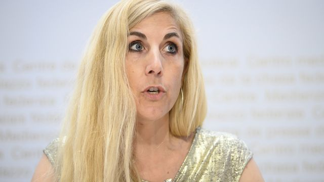 Chloé Frammery lors d'une conférence de presse le 21 juillet 2020 à Berne. [Anthony Anex - Keystone]