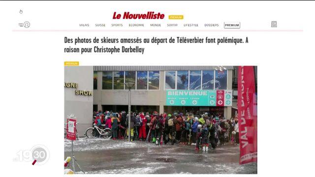 Verbier: les photos de skieurs agglutinés au départ d'une télécabine créent le malaise. [RTS]