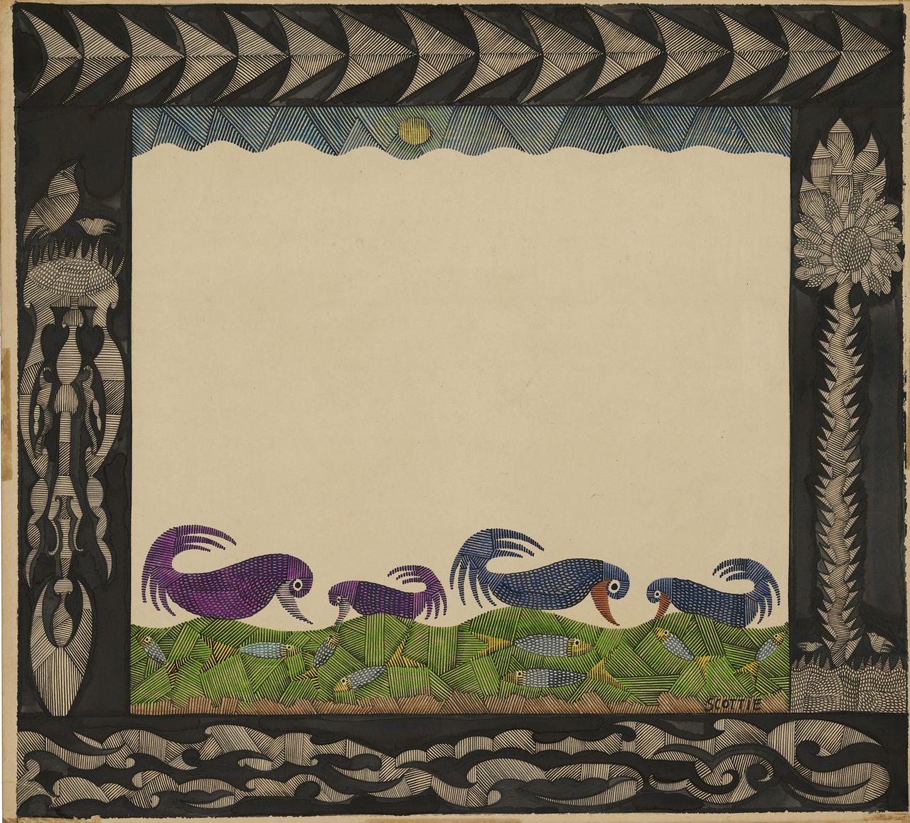 Scottie Wilson-Feeding time, 1950, encre de Chine et crayon de couleur sur carton, 50,8 x 55,5 cm. [AN – Collection de l'Art Brut, Lausanne]