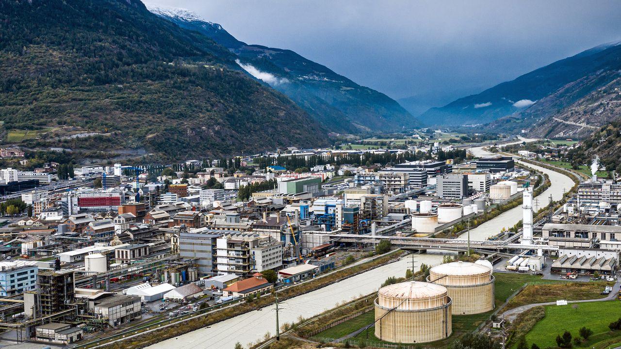 Le site de Lonza, à Vièges, en Valais, le 6 octobre 2020. [Olivier Maire - Keystone]
