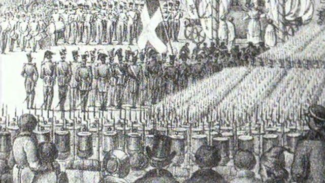 Les troupes fribourgeoises s'apprêtent à prendre part à la guerre du Sonderbund. [RTS]