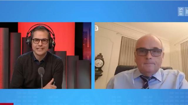 Le conseiller d'Etat bernois Pierre Alain Schnegg interviewé dans La Matinale du 15 décembre 2020. [RTS]