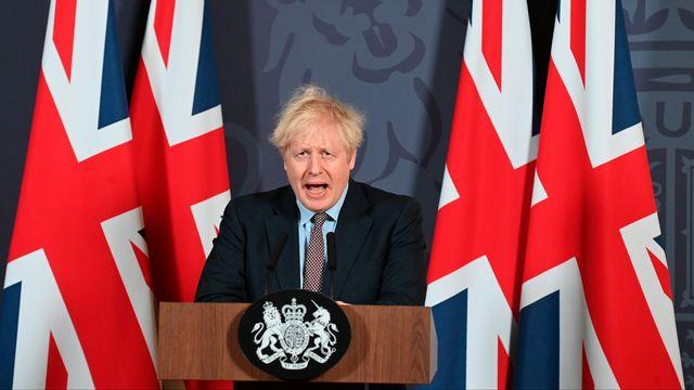 Le Premier ministre britannique Boris Johnson après l'annonce d'un accord entre son pays et l'Union Européenne. [Paul Grover - Pool Photo/AP/Keystone]