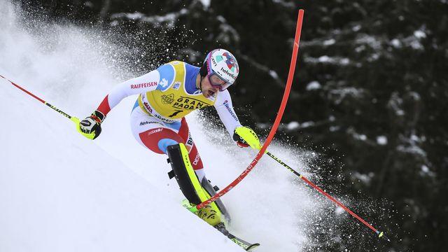 Yule partira en 5e position dans la première manche du slalom de Zagreb. [Marco Trovati - AP Photo/Keystone]