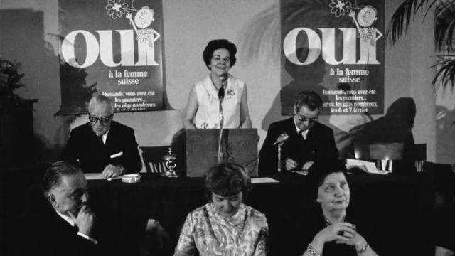 Gertrude Girard Montet, présidente de l'Association suisse pour le suffrage féminin. [RTS]