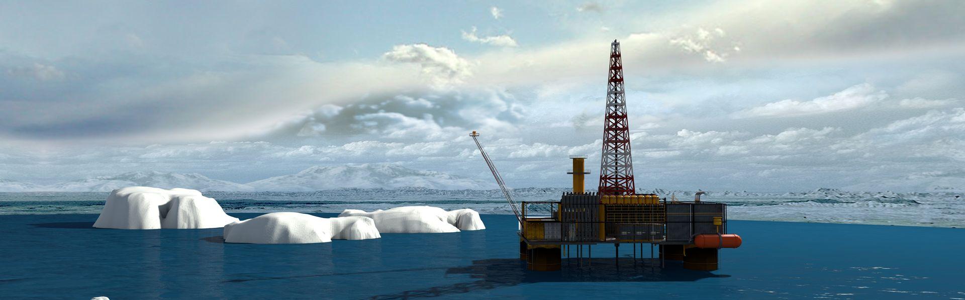 Plateforme pétrolière dans le Grand Nord. [Deposit Photos]