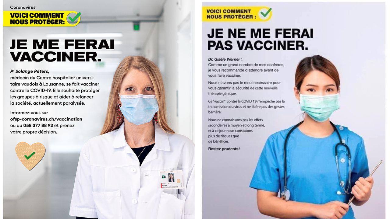 Photomontage: à gauche, l'affiche originale de campagne pour la vaccination de l'Office fédéral de la santé publique; à droite, la version détournée qui circule sur les réseaux sociaux. [OFSP/DR]