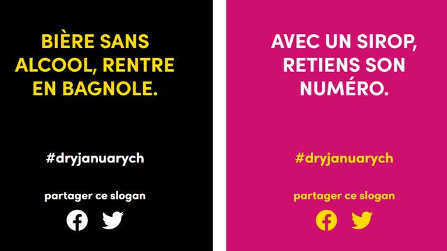 """Deux visuels du défi """"Dry January"""". [dryjanuary.ch]"""