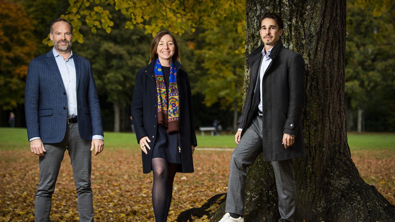 Les candidats Verts à Lausanne Daniel Dubas, Natacha Litzistorf et Xavier Company. [Jean-Christophe Bott - Keystone]