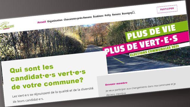 Capture d'écran du site des Verts vaudois, sur la page consacrée aux élections communales du mois de mars 2021. [Les Verts vaudois]
