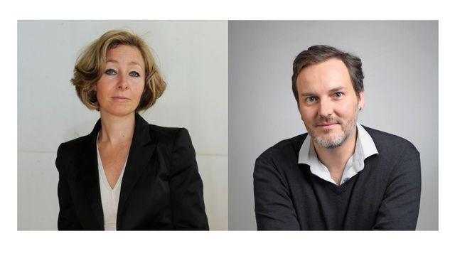 Sandra Jean, rédactrice en chef de Watson, et Michel Jeanneret, rédacteur en chef du Blick (romand). [Jean-Christophe Bott / DR - Keystone / Ringier Axel Springer]