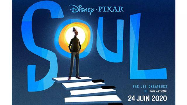 """L'affiche de """"Soul"""" (2020). Le film a été produit par les Pixar Animation Studios et distribué par Walt Disney Pictures. [© Walt Disney Pictures - Pixar Animation Studios / Collection ChristopheL - AFP]"""