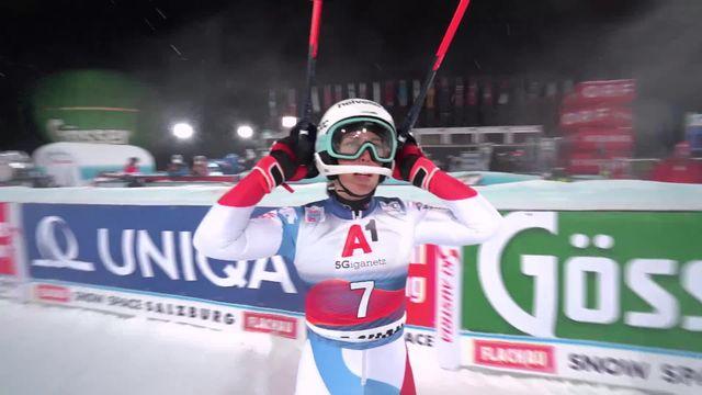Flachau (AUT), slalom dames, 1re manche: Michelle Gisin (SUI) [RTS]