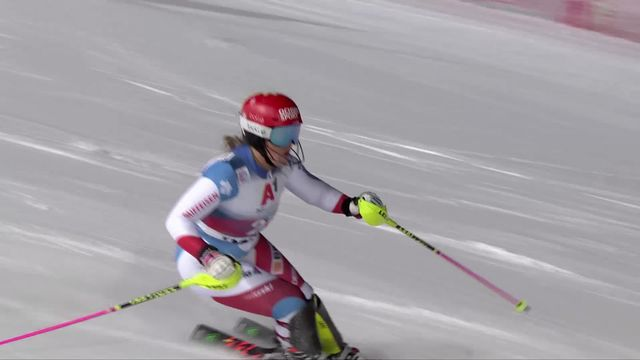 Flachau (AUT), slalom dames, 1re manche: Mélanie Meillard (SUI) [RTS]