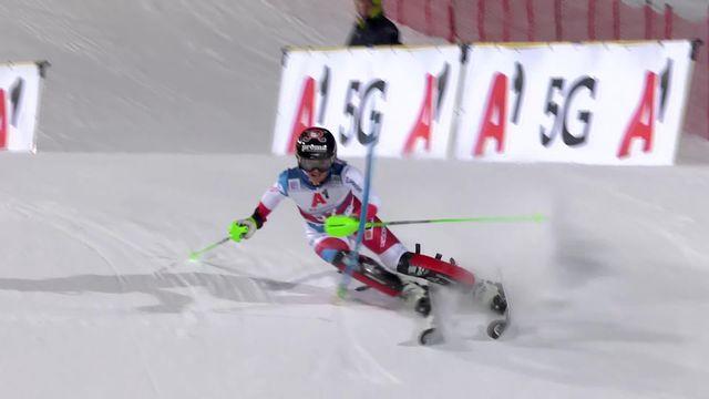 Flachau (AUT), slalom dames, 1re manche: Camille Rast (SUI) [RTS]