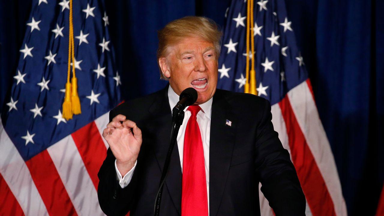 Donald Trump s'exprimant à Washington sur sa vision de la politique étrangère américaine, le 27 avril 2016. [Jim Bourg - Reuters]