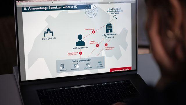La loi sur l'identité électronique est soumise aux Suisse le 7 mars. [Christian Beutler - Keystone]