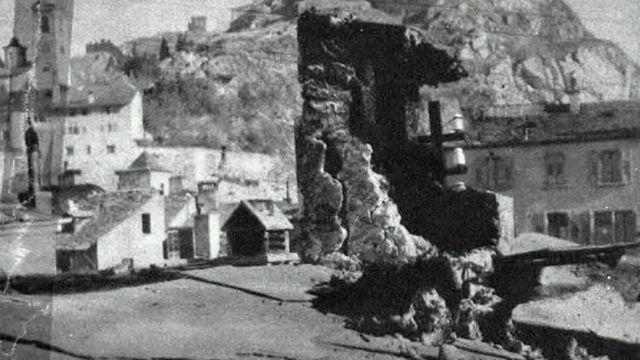 Sierre après le tremblement de terre du 27 janvier 1946. [Schweizer Illustrierte / Ringier]