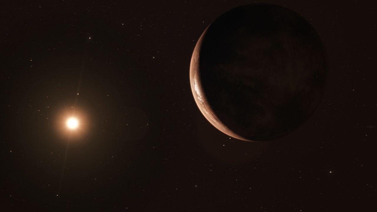 Illustration d'une exoplanète réalisée depuis l'Observatoire européen austral. [ M. Kornmesser - EPA/Keystone]