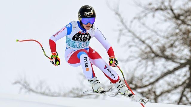 Lara Gut a signé son troisième podium de l'hiver à Crans-Montana. [Jean-Christophe Bott - Keystone]