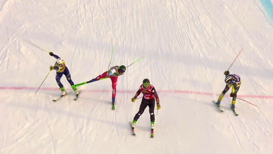 Idre Fjäll (SUE), skicross messieurs: 2e place de Jonas Lenherr (SUI) derrière Reece Howden (CAN) [RTS]