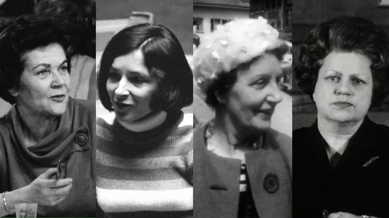 De gauche à droite : Gertrude Girard-Montet, Gabrielle Nanchen, Antoinette Quinche, Lise Girardin, pionnières du droit de vote des femmes. [RTS]