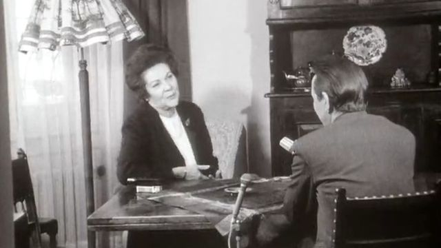 Gertrude Girard-Montet, présidente de l'Association suisse pour le suffrage féminin en 1970. [RTS]
