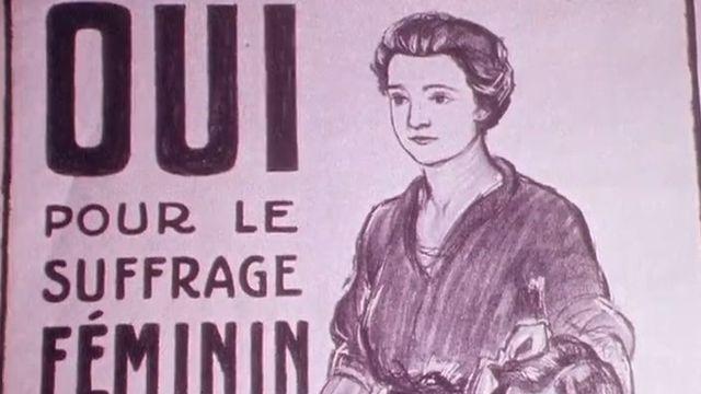 Affiche en faveur du suffrage féminin en Suisse [RTS]