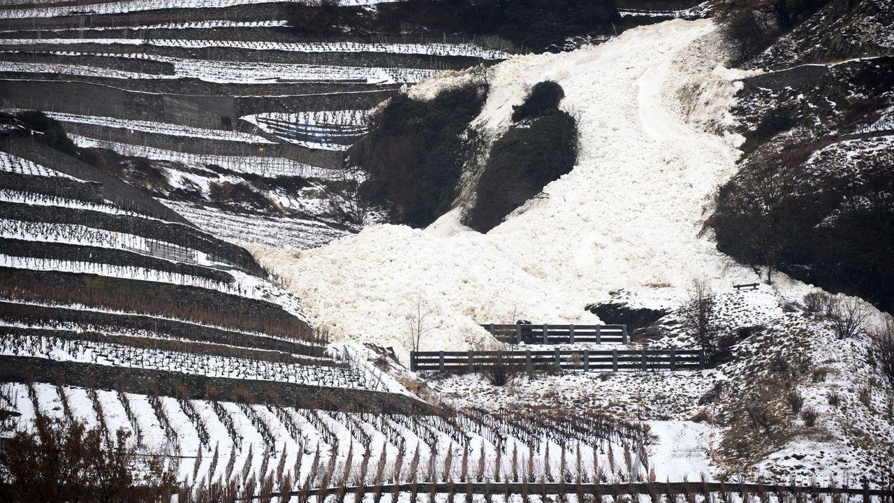 Une coulée de neige s'est abattue sur les vignes ce jeudi sur la commune de Fully (VS). [Laurent Gillieron - Keystone]