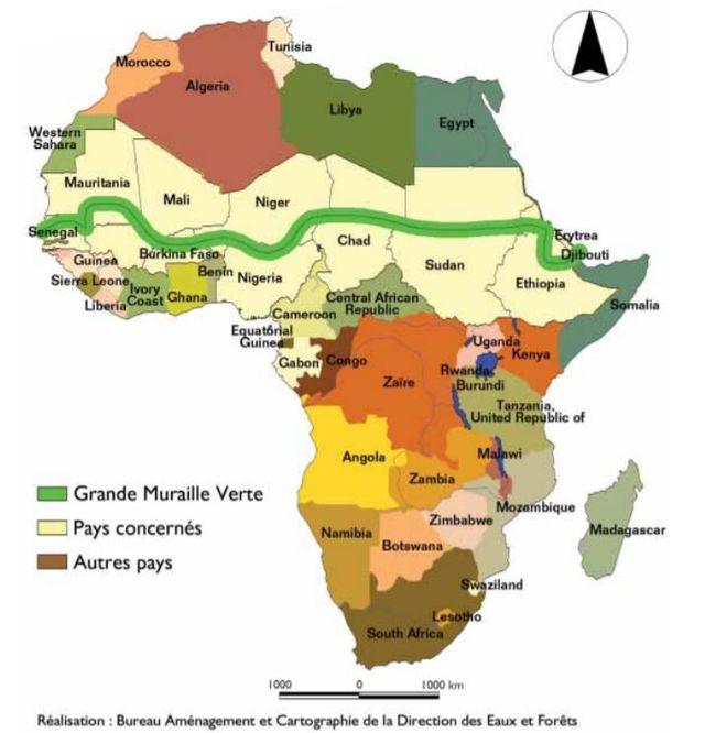 Carte du projet de la Grande Muraille Verte. [Agence Panafricaine de la Grande Muraille Verte]