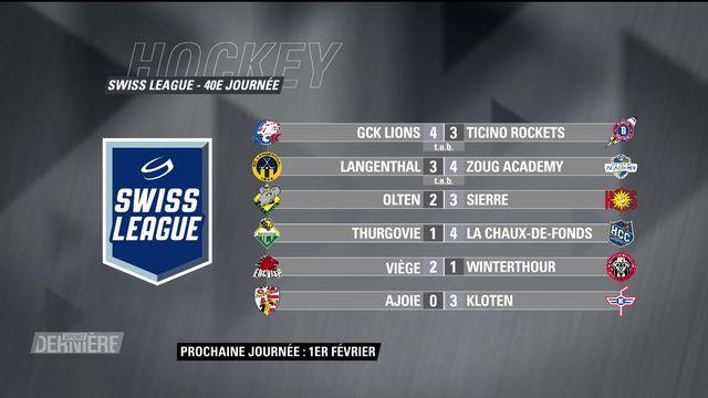 Swiss League, 40e journée: résultats et classement [RTS]