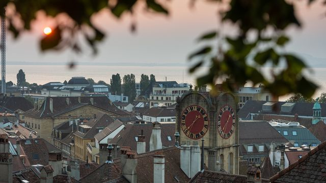 Vue sur la ville de Neuchâtel. [Stefan Meyer - Keystone]