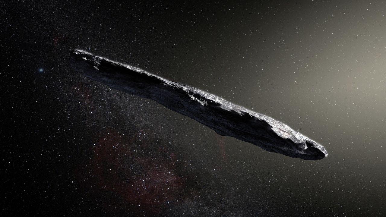 Représentation d'artiste de l'objet interstellaire Oumuamua.  SOUTHERN OBSERVATORY/M. KORNMESSER AFP [SOUTHERN OBSERVATORY/M. KORNMESSER - AFP]