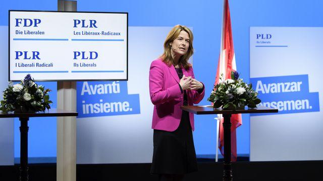 Petra Gössi lors de l'assemblée des délégués du PLR le 6 février 2012. [Anthony Anex - Keystone]