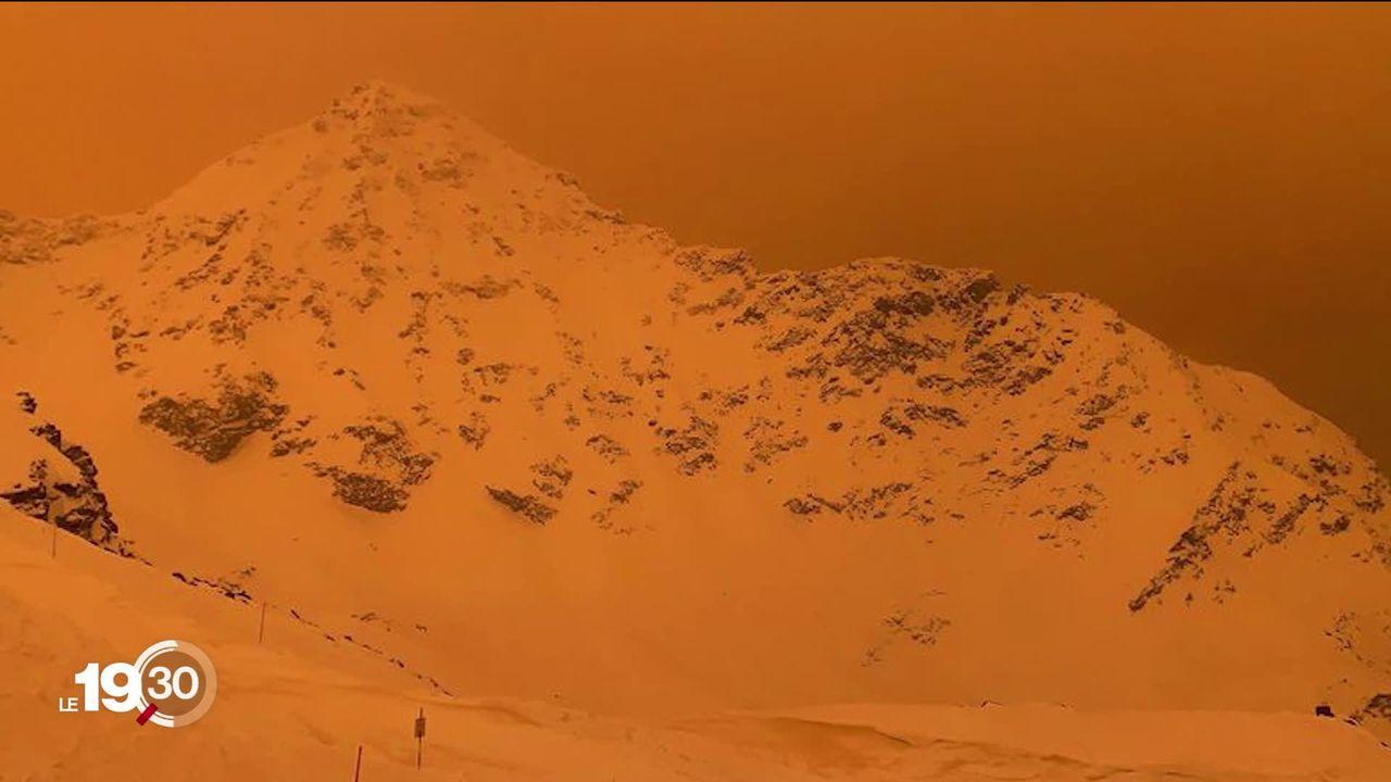 Du sable charrié depuis le Sahara donne des teintes orangées au ciel suisse. [RTS]